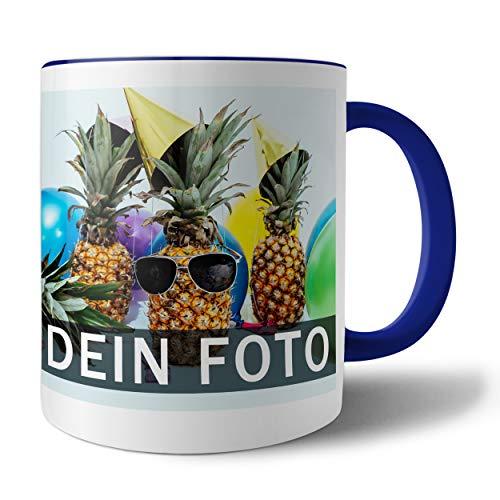Tasse mit persönlichem Foto und Text zum selbst gestalten (Fototasse, Kaffeebecher mit individuellem Druck, Farbiger Henkel und Trinkrand, mit personalisierbarem Foto, spülmaschinenfest), dunkelblau