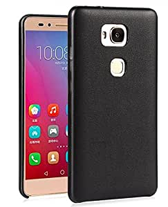 FAD-E Premium PU Leather Grain Flexible Soft Back Shell Case for Huawei Honor 5X - Black