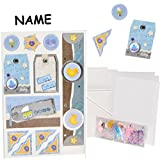 Unbekannt Bastelset: 3-D Effekt _ 15 Stück _ Einladungskarten / Glückwunschkarten / Danksagungskarten - incl. Umschlag -  Baby - Junge - blau  - inkl. Name - Basteln ..