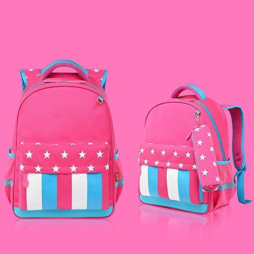 KINDOYO Wasserdichter Rucksack für Kinder Unisex Schultaschen Jungen Mädchen für Reisen, Wandern, Sport Rose / Hellblau