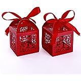 Set de 25 cajitas de boda dulces regalos bombones y detalles Color Rojo #C202