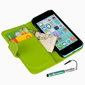 Madcase Apple iPhone 5c Green Faux Leather flip case Wallet Credit card cover