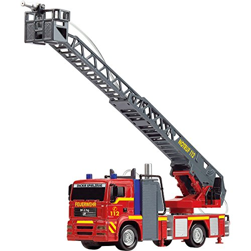 feuerwehrauto lena Feuerwehr Einsatzfahrzeug mit Drehleiter und Wasserspritze, 31 cm | Feuerwehrauto Leiterwagen Feuerwehr Lösch Fahrzeug Wasserspritz Licht Sound by H-SDV