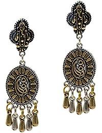 IKraft Beautiful Engraved Ganesha Ethnic Traditional Indian Dangle Earrings With Two Tone Finish Earing For Girls...