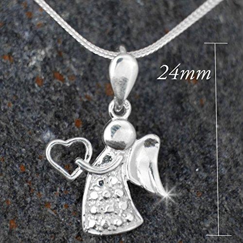 Taufschmuck-Set:Herz mit Schutzengel Anhänger mit 40 cm Schlangen-kette aus 925 Silber#557 -