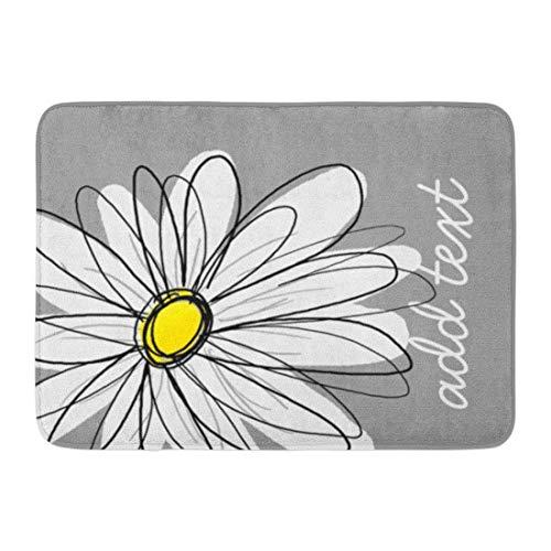 "asagooder Bath Mat Flowers Trendy Gray Yellow Floral Bathroom Decor Rug 19.6\""x31.5\"""