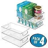 mDesign 4er-Set Küchen Organizer –praktische Aufbewahrungsbox fürKüche, Kühlschrankund Speisekammer– cleverer Aufbewahrungskorb mit Griffen – flaches Design – durchsichtig