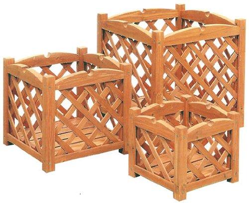 Ev 3 set 3 pz portavasi quadrati in legno grigliato, marrone