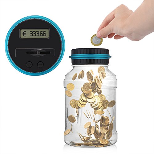 ONEVER Creative Digtal Münze Jar Automatische Münze Zähler Geld Bank Sparen Box mit LCD Dispaly, 2,5L große Kapazität für Münzen, perfekte Geschenk für Kinder (Dollar Und Coin Bank)