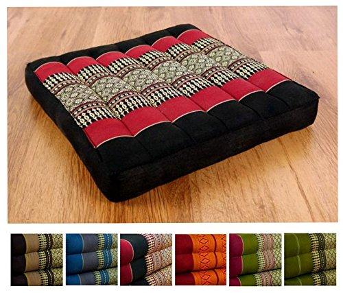 Kapok Sitzkissen 35cmx35cmx6,5cm der Marke Asia Wohnstudio, asiatisches Stuhlkissen, Bodensitzkissen, Gartenstuhlauflage, (schwarz / rot)