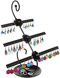 Decorativo diseño de rosas negro Metal 3 Tier 76 par soporte para pendientes/joyas para