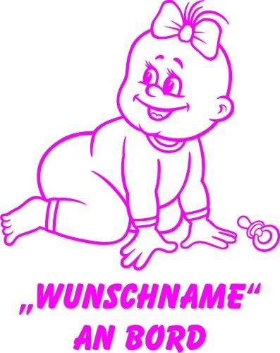 INDIGOS UG - Babyaufkleber / Kinderaufkleber 076 mit Wunschname / Wunschtext an Bord ca. 20 cm Höhe - Autoaufkleber in verschiedenen Farben
