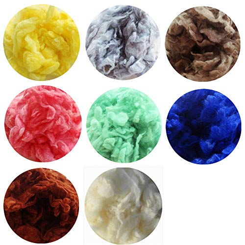 Cushy Wollfilz Poke Fun handgemachte DIY TeddyFelting 10g / Bag Curly Wolle Roving Faser, Multicolor 8Bag / Lot -