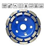 S&R Mola a Tazza Diamantata/Disco Abrasivo Diamantato 125 per Calcestruzzo, Pietra, Muratura, Mattoni. Taglio a 2 file. Disco Universale