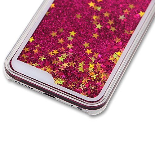 Custodia per iPhone 6/6S Liquid Cover,SKYXD Brillante Scintillio Liquido Brillantini Acqua Stelle Rigida Dura Plastica Bumper Protettiva Case Backcover per iPhone 6/6S 4.7 Custodia Cellulare Vino Ross Rosso Rose