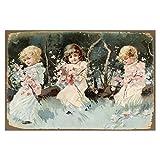Cuadros Lifestyle Wanddekoration Blechschild 'Poesiebild Kinder' / Glanzbilder/Vintage, Größe:45x30 cm