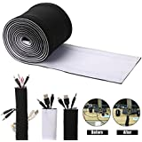 Cable Management Sleeves, ENVEL Neoprene Cord Organizer With Free Velcro For TV USB PC Computer Network Wires ( 59 Inches ) DIY, Adjustable Black And White Reversible Wire Hider