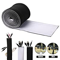 Cable Management Sleeves, ENVEL Cover Wire Hider Concealer Neoprene Cord Organizer with Velcro for TV USB PC Computer Network Wires ( 3M / 118 inches ) DIY by Yourself, Adjustable Black and White Reversible