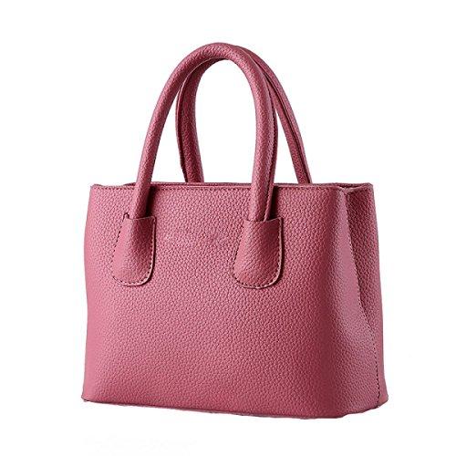 Weibliche Tasche Wilde Einfache Litchi Muster Kleine Frische Damen Handtasche Messenger Bag Pink1