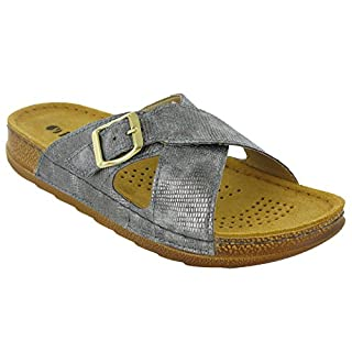Inblu Sandals Slip On Leather Lined Cross Strap Lightweight 'UA002' (UK 5 / EU 38, Gunmetal)