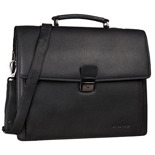 STILORD 'Noel' Aktentasche Leder Herren Vintage groß Klassische Arbeitstasche Bürotasche Umhängetasche Dokumententasche mit Laptopfach 13,3 Zoll und Trolleyschlaufe, Farbe:schwarz