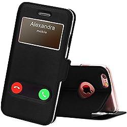 FYY Coque iPhone 6S, Coque iPhone 6, Housse Magnetique Smart View avec Fenêtre d'Ouverture pour Apple iPhone 6S/6 Noir