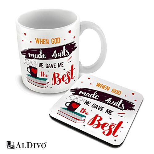 alDivo Premium Quality When God Made Aunts He Gave Me The Best Printed Combo Gift Pack of Ceramic Coffee Mug 330 ml + Printed Coaster
