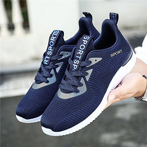 Gomnear Chaussures de course Hommes Poids léger Respirant Lacer Décontractée Mode Baskets Athlétique Des sports Chaussures Bleu