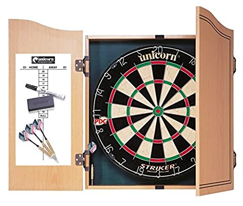 Unicorn Dartboard Striker Home Dart Centre Type: Standard High Quality Wood Cabinet with Doors.