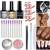 HVdsyf Fiberglass Set, Fiber Builder Gel Fiberglass Top Base Coat Tweezers Nail File UV Pen Clamps Set