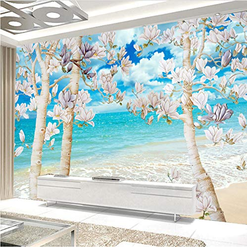 Mkkwp Benutzerdefinierte 3D Fototapete Big Mural Blue Sky Weiße Wolken Sea Magnolia Tree Schlafzimmer Wohnzimmer Sofa Tv Dekoration Tapete-250Cmx175Cm