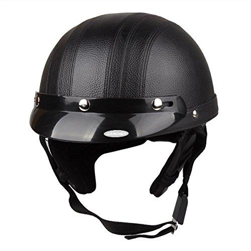 CARCHET® Motorrad Helm Jethelm Rollerhelm mit Schutzbrille Halstuch Schwarz NEU