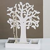 Casablanca Schmuckhalter aus Holz weiß mit grauem Filzeinsatz Schmuckaum