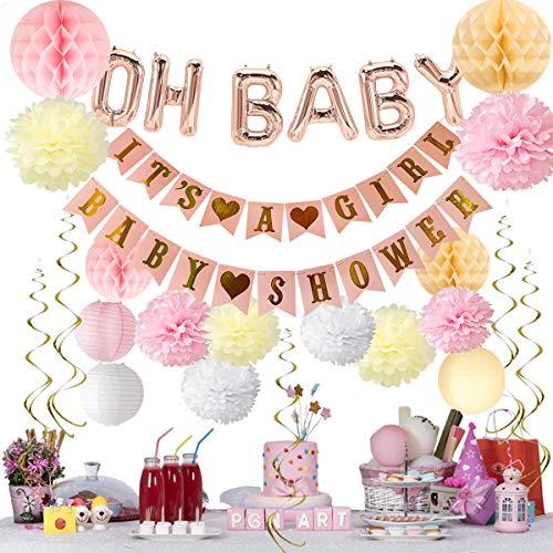 """Deko It's A Girl Girlande Banner """"OH Baby"""" Ballon Banner for Baby Dusche Dekorationen Papier Pom Poms mit Papierlaternen von ()"""