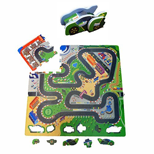 Fun Floor Racing Car Foam Puzzle Playmat With Pop Out 3D Racing Car - Suitable from 10 Months by KAT