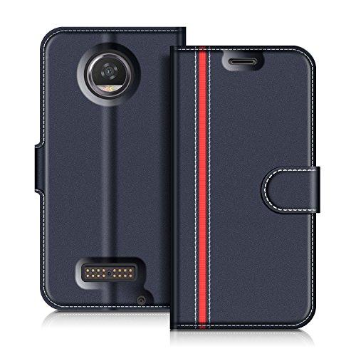 COODIO Motorola Moto Z2 Play Hülle Leder Lederhülle Ledertasche Wallet Handyhülle Tasche Schutzhülle mit Magnetverschluss/Kartenfächer für Motorola Moto Z2 Play, Dunkel Blau/Rot