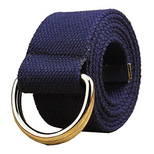 Maikun Herren & Damen Gürtel aus Segeltuch mit D-Ring Gr. Taillenumfang 101,60 cm-109,22 cm, Dark Blue+silver Ring -