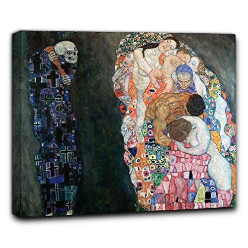 Niik Quadro + Telaio (BC) la Vita e la Morte di Gustav Klimt 100 x 86 x 4 cm Falso d'autore Stampa su Tela