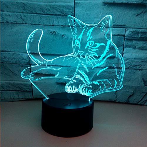 ZNDDB 3D nachtlicht 7-farbiges LED-Licht Visuelles Stereolicht aus Acryl Berühren Sie die USB-Schreibtischlampe Geeignet für Zuhause, Hotelzimmer, Freizeit- und Unterhaltungsmöglichkeiten