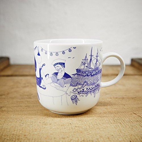 Handmade von Ahoi Marie - Motiv Bootshaus - Maritime Porzellan-Tasse original aus dem Norden ()