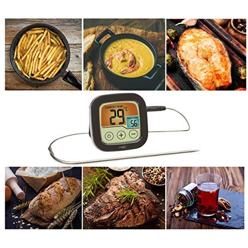 TFA Dostmann 14.1509.01 Digitales Grill- und Bratenthermometer mit farbigem Touchdisplay, Kunststoff, schwarz