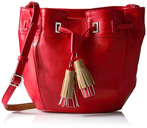 Nine West Take a Lift Crossbody Bucket Bag, Dynasty Red/Dark Camel (Camel Bag Dark)