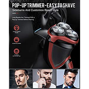Electric Shavers Men Rechargeable, DynaBliss Mens Electric Razors Cordless Wet and Dry Rotary Shaver IPX7 Waterproof with Pop up Trimmer and Travel Lock