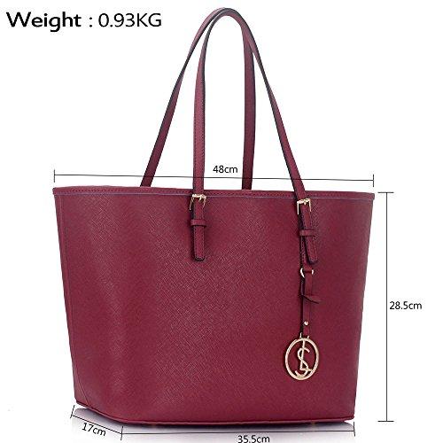LeahWard Damenmode Desinger Qualität Shopper Bag Taschen Damen modisch meistverkauft Handtaschen Groß Größe Tasche CWS00297 Burgundy