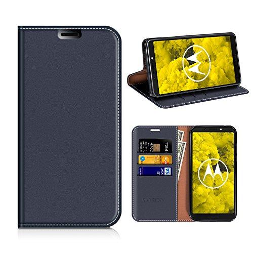 MOBESV Moto G6 Play Hülle Leder, Moto G6 Play Tasche Lederhülle/Wallet Case/Ledertasche Handyhülle/Schutzhülle mit Kartenfach für Motorola Moto G6 Play - Dunkel Blau