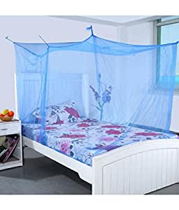 Shahji Creation King Size Single Bed Mosquito Net with Cotton Border, Blue (4x6.5 Feet)