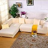 JIAN YA NA Canapé Extensible Covers Polyester Spandex Housse Polyester Tissu Stretch Slipcovers + 2pcs Oreiller Couvre pour Canapé en L Canapé (Gris)