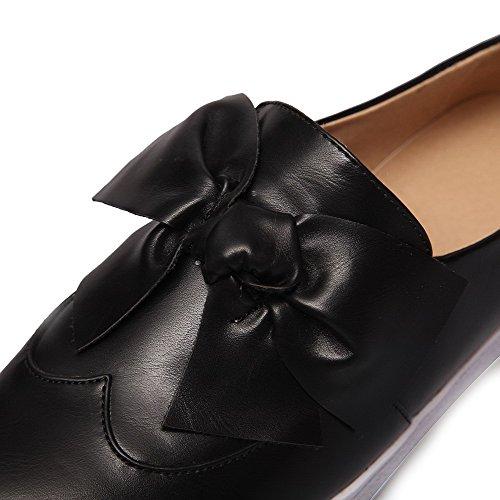 AllhqFashion Femme Tire à Talon Bas Pu Cuir Couleur Unie Rond Chaussures Légeres Noir