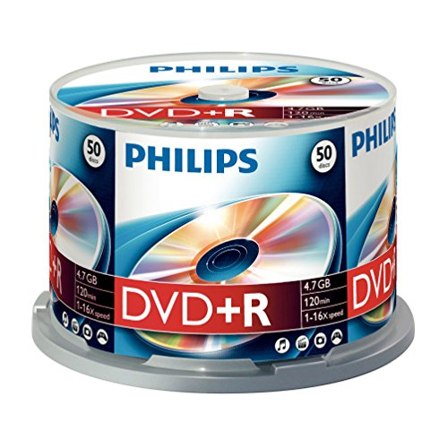 Philips DVD+R Rohlinge (4.7 GB Data/ 120 Minuten Video, 16x High Speed Aufnahme, 50er Spindel)