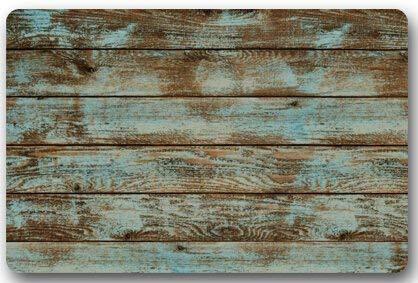 deyhfef Rustikale alte Scheune Holz Fußmatten Abdeckung Rutschfeste Maschine waschbar Outdoor Indoor Badezimmer Küche Dekor Teppich Matte Willkommen Fußmatte (L23.6 X15.7 W)